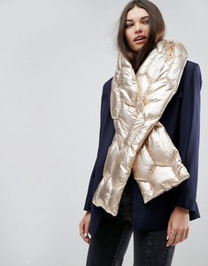 Read more about Asos metallic quilted long scarf - gold