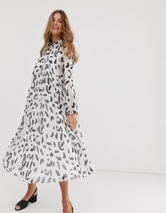Read more about Asos design pleated trapeze midi dress with tie neck in splodge print