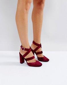 Read more about London rebel asymmetric block velvet high heels - burgundy velvet
