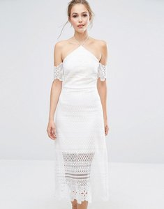 Read more about Dark pink premium lace midi dress with bardot sleeves - white