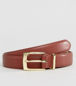 Read more about Asos smart faux leather slim belt in brown with tan contrast internal and metal keeper - brown tan