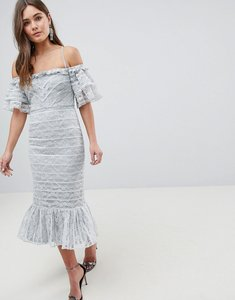 Read more about Asos linear lace pencil midi dress with ruffle detail - soft grey