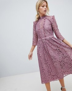 Read more about Little mistress all over lace full midi prom dress - canyon rose