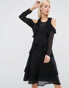 Read more about Asos cold shoulder midi dress with pleat detail - black