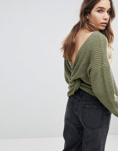 Read more about Asos jumper with twist back - olive