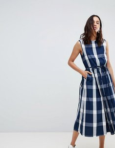 Read more about Kowtow dance with me organic cotton pinafore dress - navy check