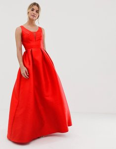 Read more about Chi chi london maxi prom dress with open back in red