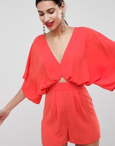 Read more about Asos design playsuit with kimono sleeve and cut out - coral pink