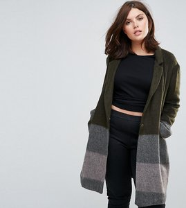 Read more about Elvi striped wool blend coat - brown grey
