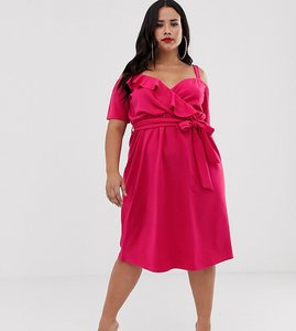 Read more about Boohoo plus exclusive midi dress with cold shoulder and ruffle detail in hot pink