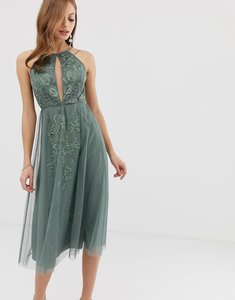 Read more about Asos design double strap midi dress with lace inserts and floral embroidery