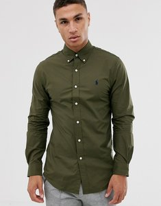 Read more about Polo ralph lauren slim fit stretch poplin button down shirt in olive with player logo