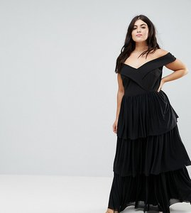Read more about Club l plus off the shoulder tiered maxi dress - black