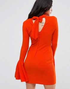 Read more about Ax paris flute sleeve midi dress with open back - burnt orange