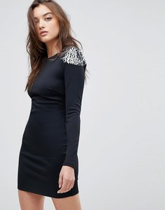 Read more about Asos embellished shoulder bodycon open back mini dress - black silver