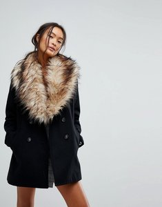 Read more about New look faux fur shawl collar coat - black
