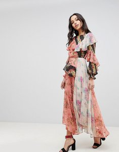 Read more about Asos deconstructed maxi dress in mismatch floral print - floral print