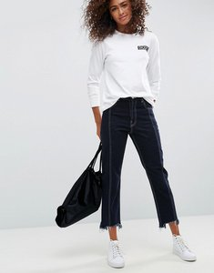 Read more about Asos authentic straight leg jeans with vertical seam in indigo with a contrast stitch - indigo