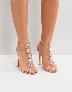 Read more about Public desire azalea rose gold clear strap embellished heeled sandals - rose gold