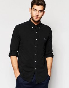 Read more about Polo ralph lauren shirt in featherweight pique slim fit black