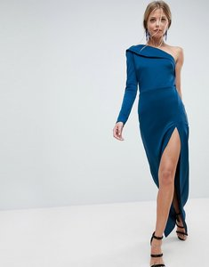 Read more about Asos one shoulder long sleeve thigh split maxi dress - poseidon