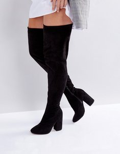 Read more about Asos katcher wide leg heeled over the knee boots - black