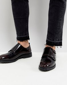 Read more about Asos monk shoes in burgundy leather - burgundy