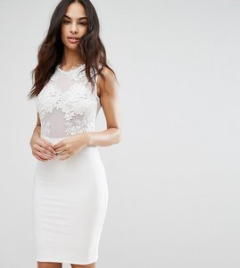 Read more about Club l lace applique mesh midi dress - white