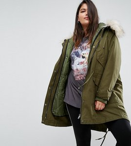 Read more about Asos curve oversized parka with padded liner - khaki