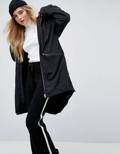 Read more about Asos midi rain jacket with faux fur liner - black