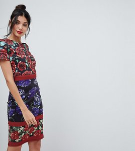 Read more about City goddess tall floral midi dress - print
