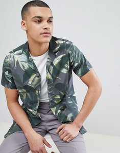 Read more about Selected homme shirt with all over print and revere collar - hunter green