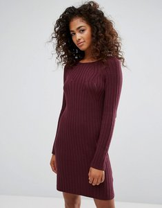 Read more about Esprit knitted ribbed dress - red dark