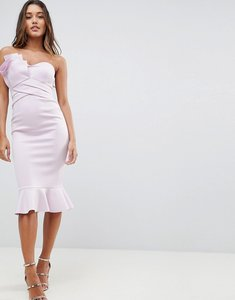 Read more about Asos fan front scuba midi bodycon pephem dress - lilac
