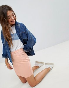 Read more about Asos design denim original skirt in apricot - apricot