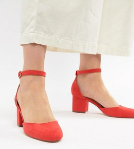 Read more about London rebel mid block heeled shoes - red