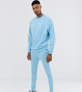 Read more about Asos design tall tracksuit oversized sweatshirt super skinny joggers in sky blue - sky blue