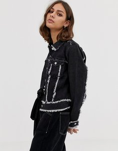 Read more about Weekday denim trucker jacket with raw hem - raw black