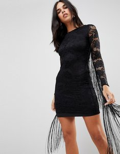 Read more about Forever unique lace dress with tassle detail - black