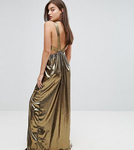 Read more about Tfnc v neck maxi dress with pleated back panels - gold