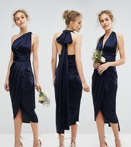 Read more about Tfnc wedding wrap pencil multiway midi dress - navy