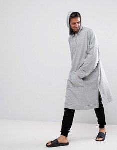 Read more about Asos extreme oversized super longline hoodie with wide sleeve - grey marl