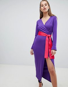 Read more about Asos design maxi dress with long sleeve and contrast belt - bright purple