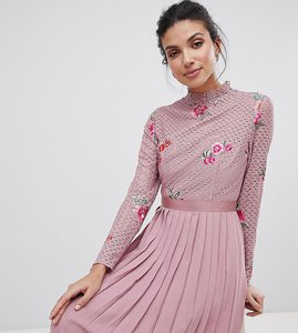 Read more about Little mistress tall embroidered lace top midaxi dress with pleated skirt - mauve