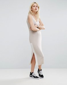 Read more about Asos sleeveless dress in rib with colour block - cream