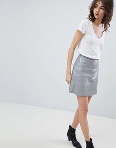 Read more about Muubaa pannalla metallic silver leather a-line skirt - metallic silver