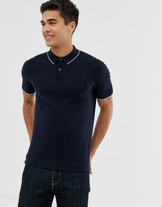 Read more about Celio knitted polo shirt with contrast tipping - navy