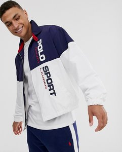 Read more about Ralph lauren sport capsule full zip lined nylon track jacket in navy white