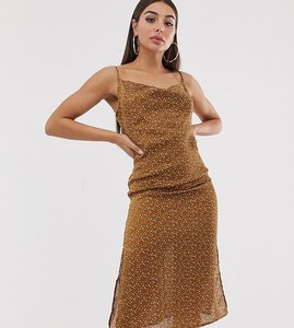 Read more about Missguided satin dress with cowl neck in brown spot