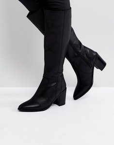 Read more about Asos caught up leather knee high boots - black